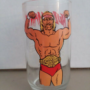 1985 Hulk Hogan WWF Hulkamania Glass Drinking